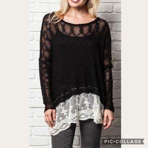 Umgee Black Lace Trim Knit Sweater Size M